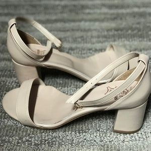 Shoes - Cream color chunky heel sandal w/ankle straps